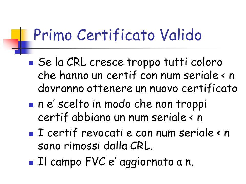 Primo Certificato Valido