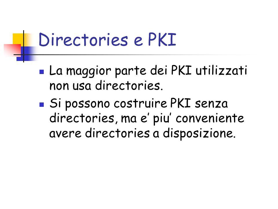 Directories e PKI La maggior parte dei PKI utilizzati non usa directories.