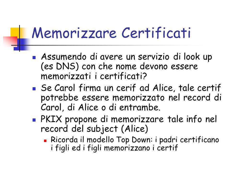 Memorizzare Certificati