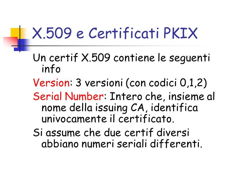 X.509 e Certificati PKIX Un certif X.509 contiene le seguenti info