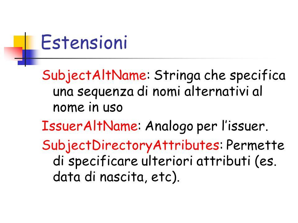 Estensioni SubjectAltName: Stringa che specifica una sequenza di nomi alternativi al nome in uso. IssuerAltName: Analogo per l'issuer.