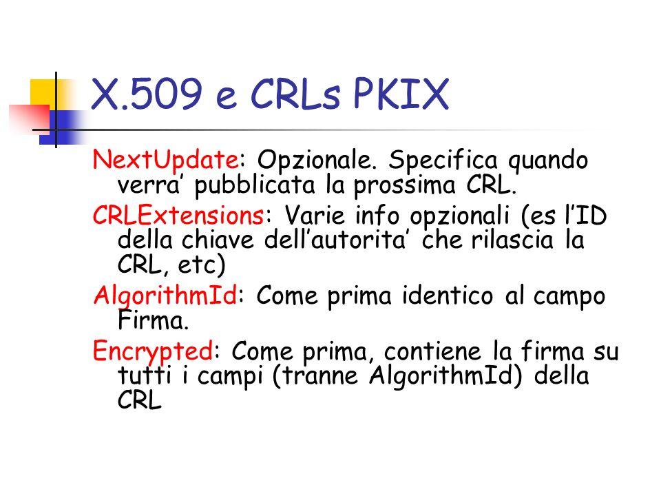 X.509 e CRLs PKIX NextUpdate: Opzionale. Specifica quando verra' pubblicata la prossima CRL.