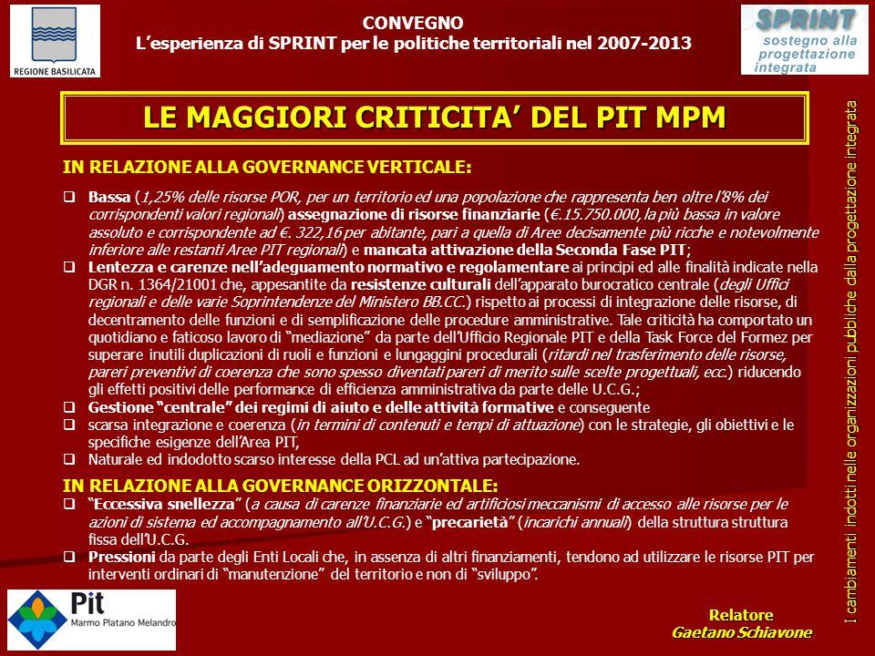 LE MAGGIORI CRITICITA' DEL PIT MPM