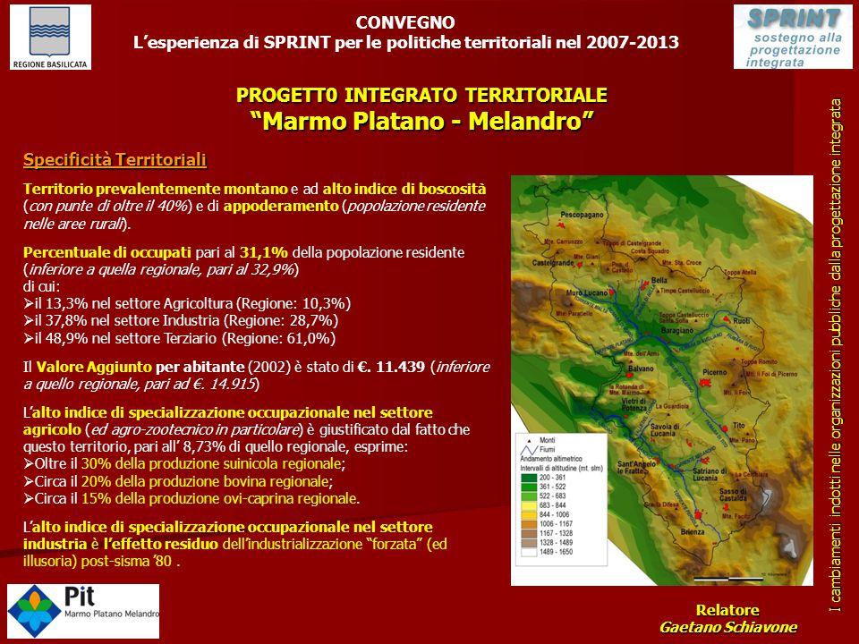 PROGETT0 INTEGRATO TERRITORIALE Marmo Platano - Melandro