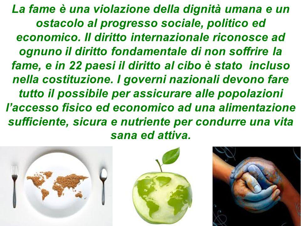 La fame è una violazione della dignità umana e un ostacolo al progresso sociale, politico ed economico.