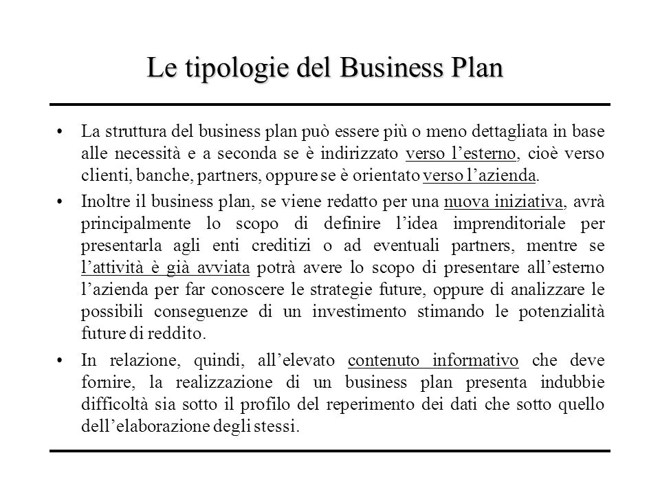 Le tipologie del Business Plan