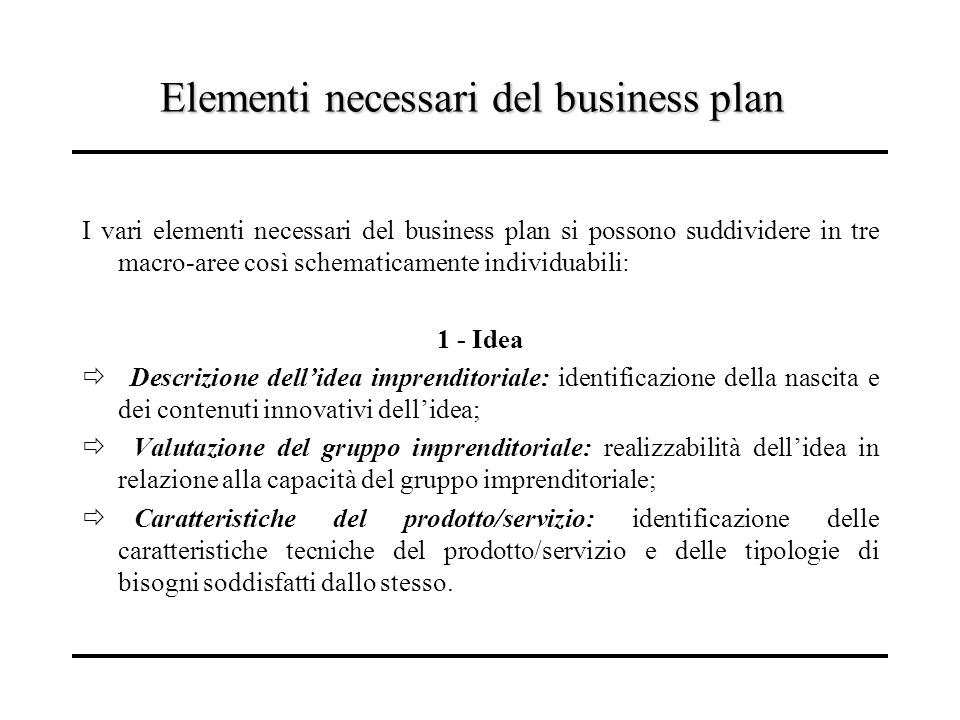 Elementi necessari del business plan