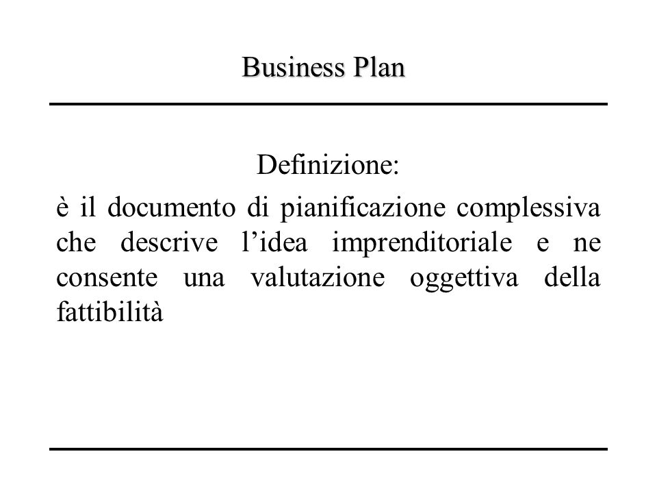 Business Plan Definizione: