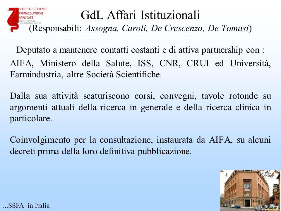 GdL Affari Istituzionali (Responsabili: Assogna, Caroli, De Crescenzo, De Tomasi)