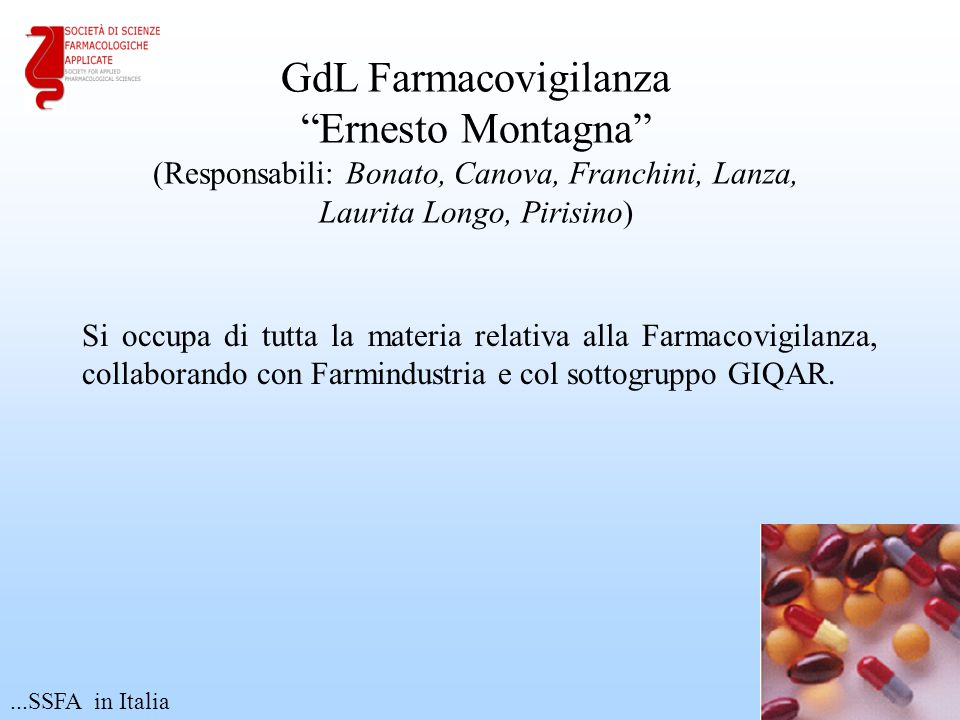 GdL Farmacovigilanza Ernesto Montagna (Responsabili: Bonato, Canova, Franchini, Lanza, Laurita Longo, Pirisino)