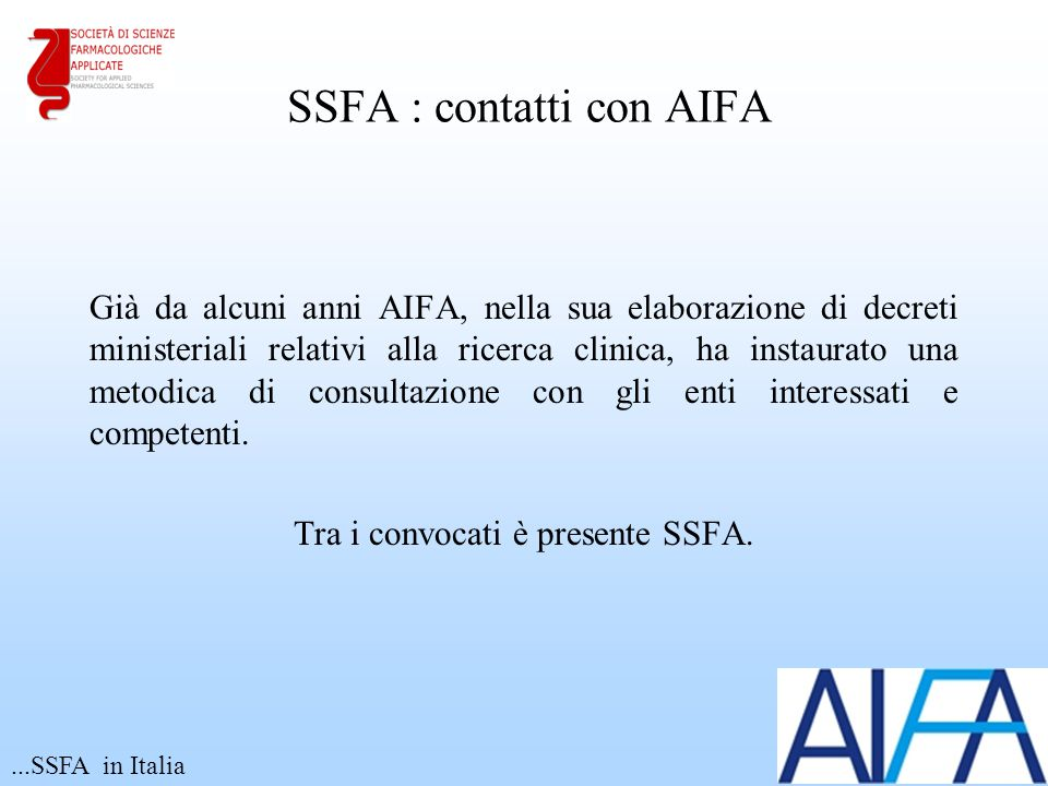 SSFA : contatti con AIFA