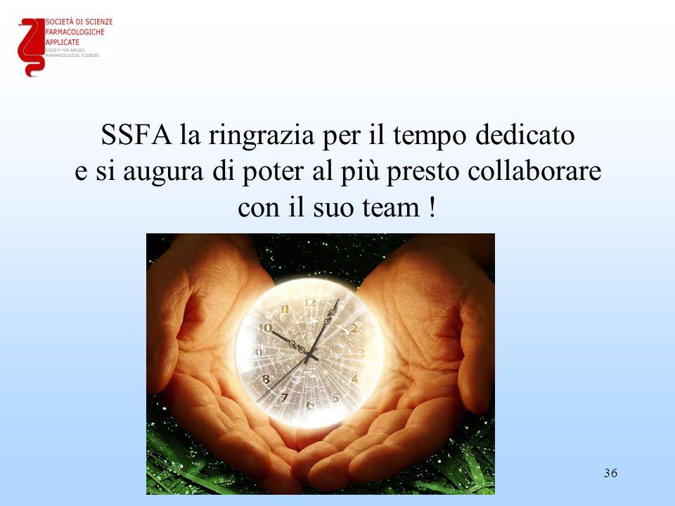 18/04/2017 SSFA la ringrazia per il tempo dedicato e si augura di poter al più presto collaborare con il suo team !