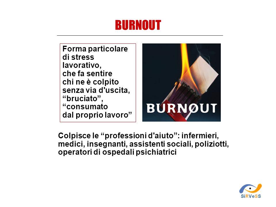 BURNOUT Forma particolare di stress lavorativo, che fa sentire
