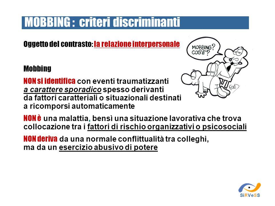 MOBBING : criteri discriminanti
