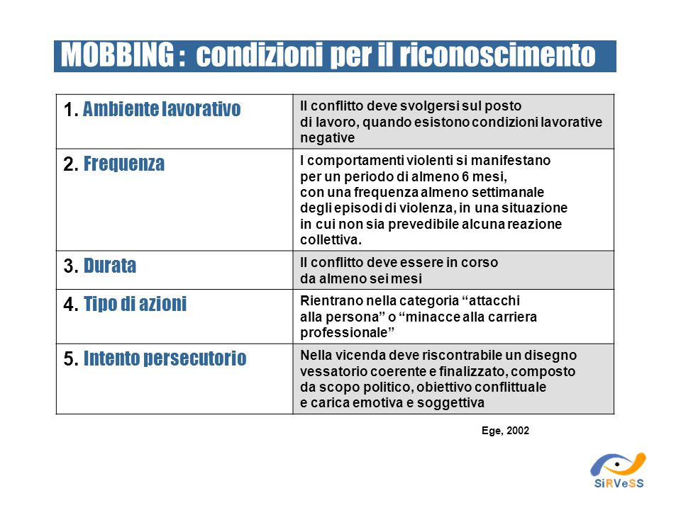 MOBBING : condizioni per il riconoscimento
