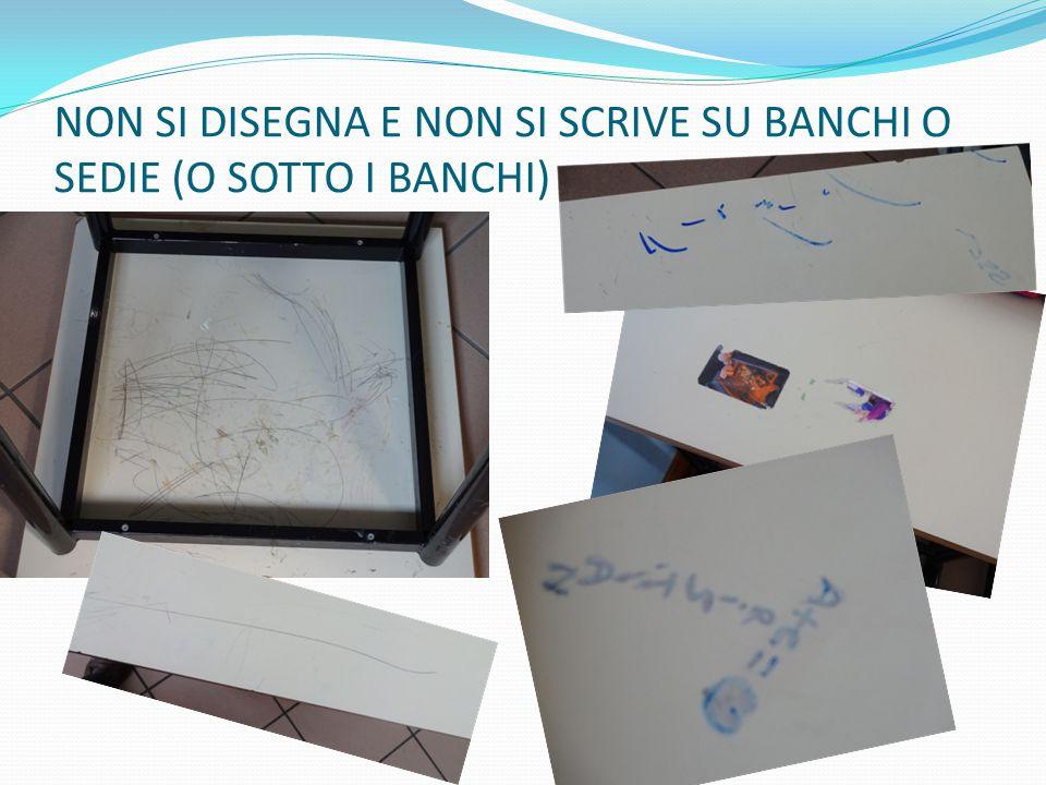 NON SI DISEGNA E NON SI SCRIVE SU BANCHI O SEDIE (O SOTTO I BANCHI)