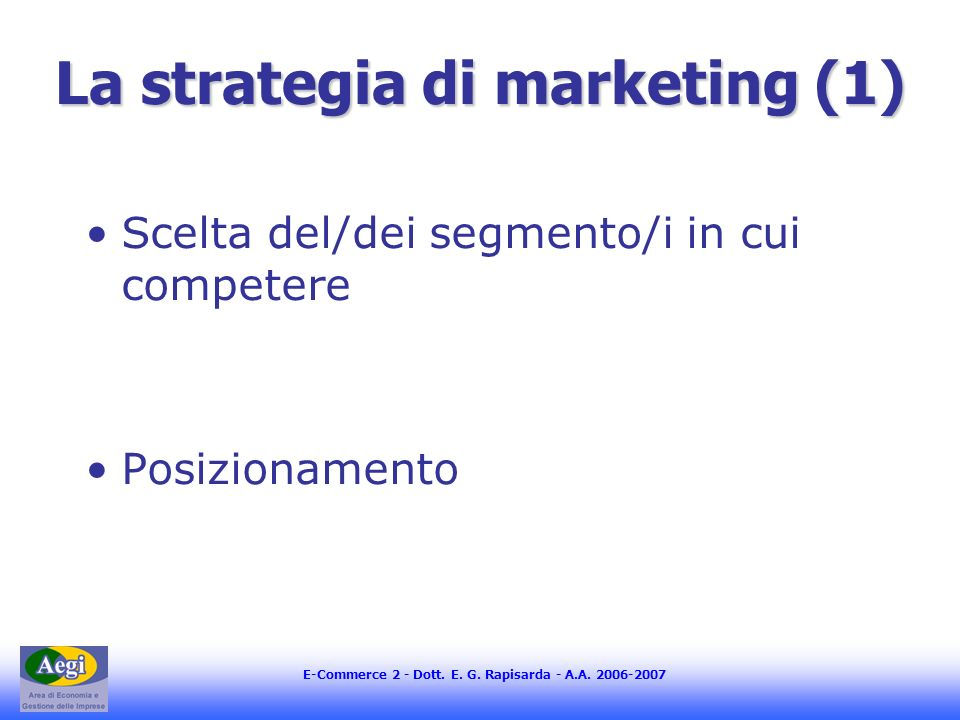 La strategia di marketing (1)