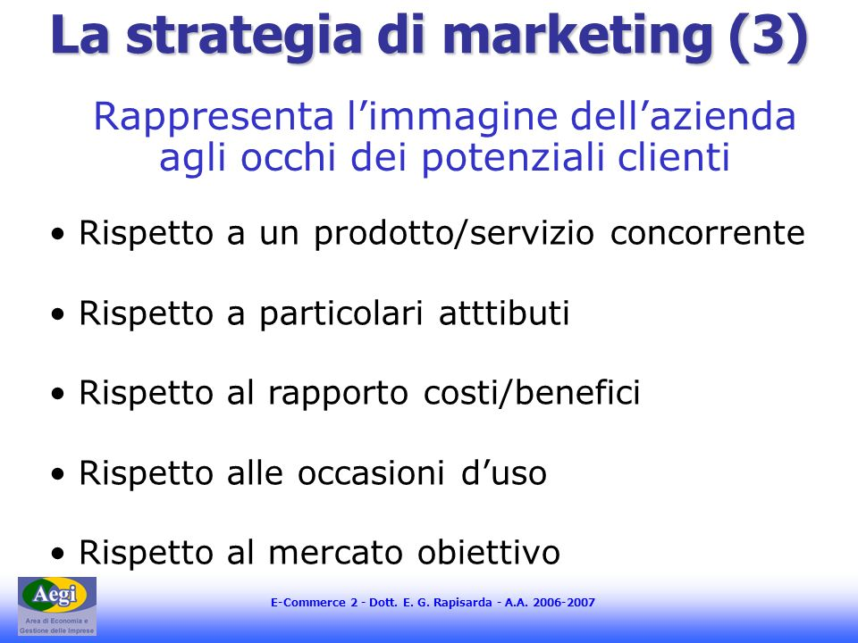 La strategia di marketing (3)