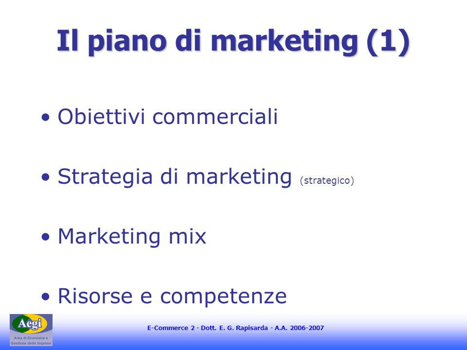 Il piano di marketing (1)
