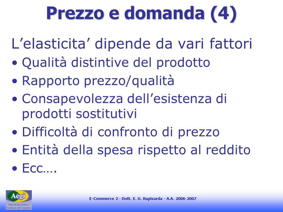 Prezzo e domanda (4) L'elasticita' dipende da vari fattori