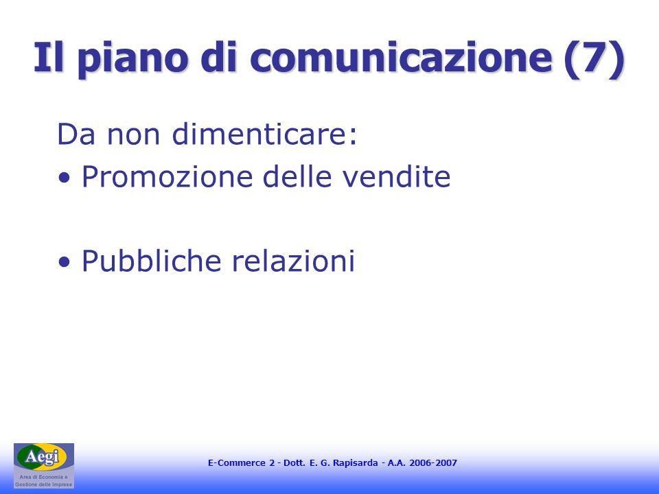 Il piano di comunicazione (7)