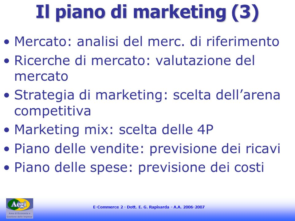 Il piano di marketing (3)