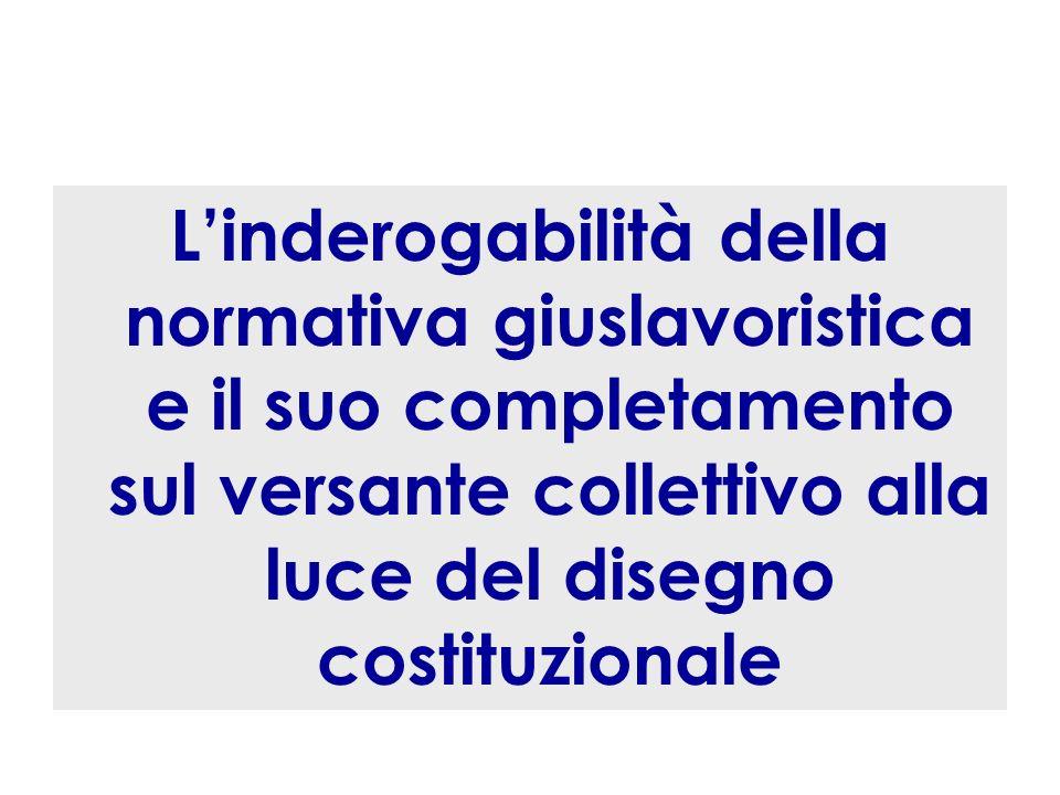 L'inderogabilità della normativa giuslavoristica e il suo completamento sul versante collettivo alla luce del disegno costituzionale