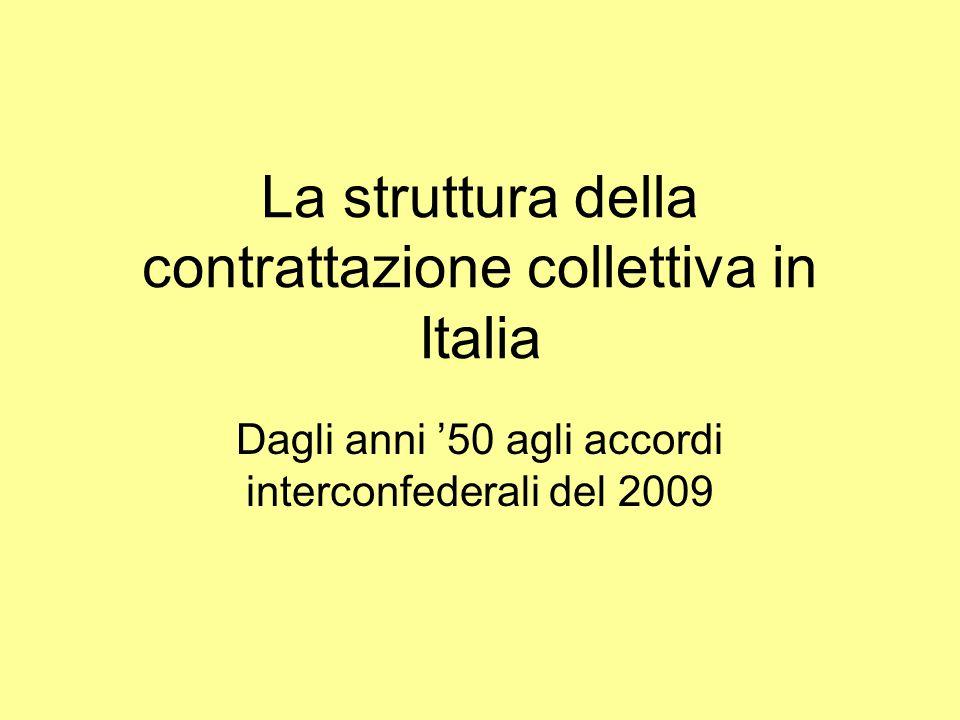 La struttura della contrattazione collettiva in Italia