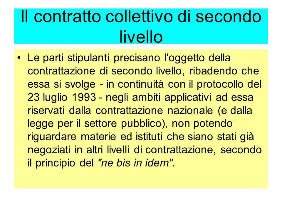 Il contratto collettivo di secondo livello