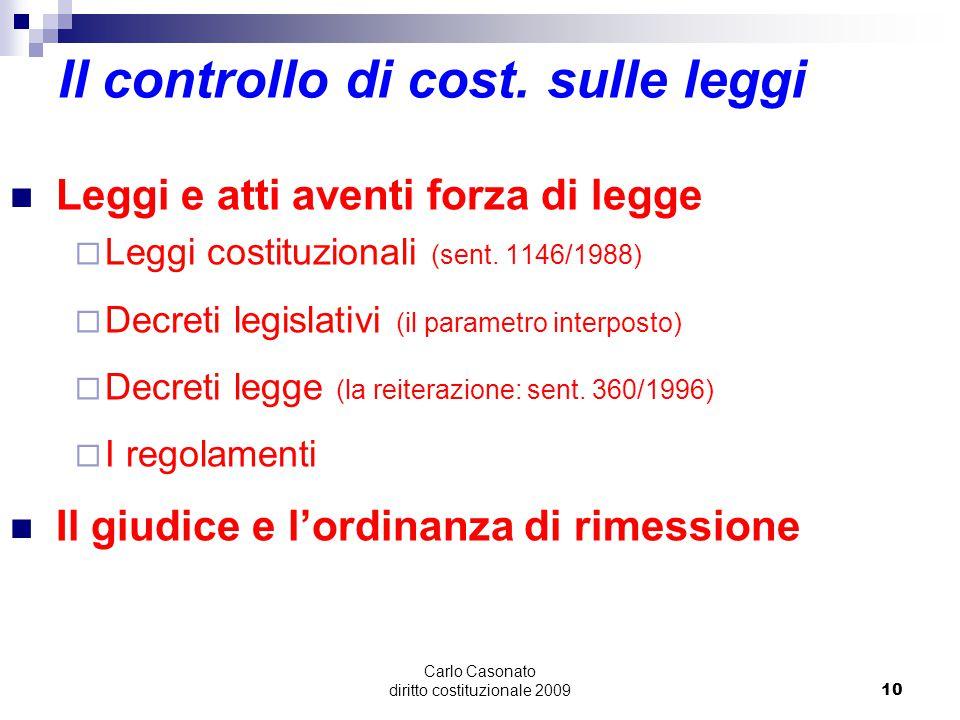 Il controllo di cost. sulle leggi