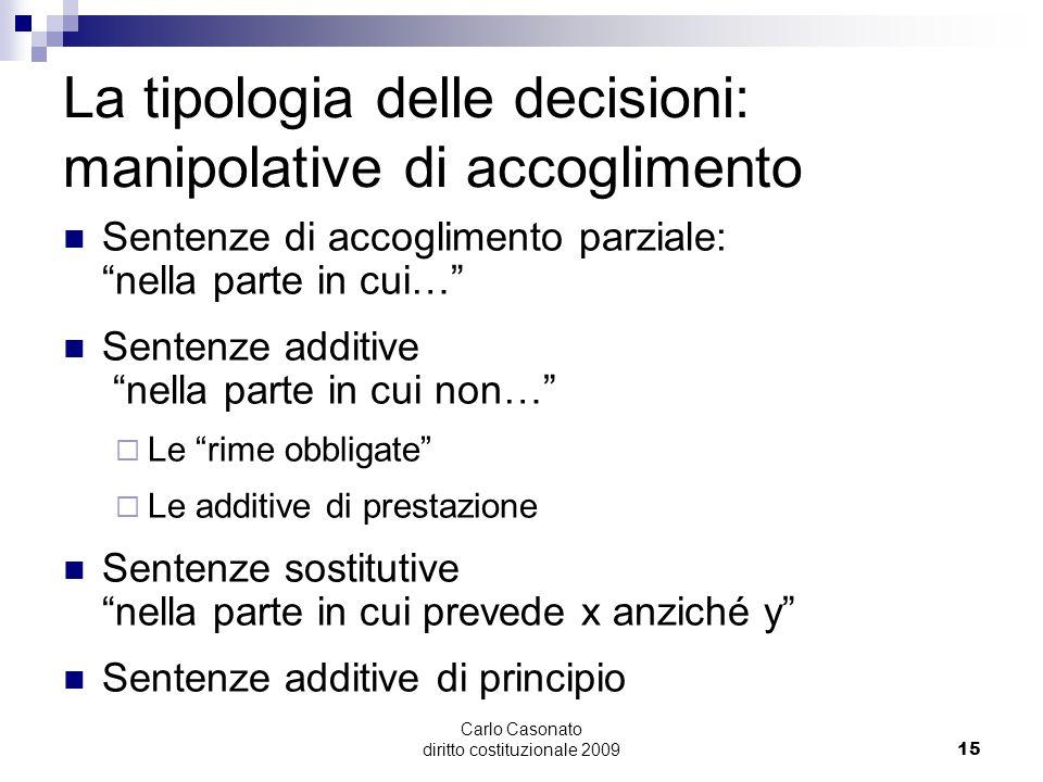 La tipologia delle decisioni: manipolative di accoglimento