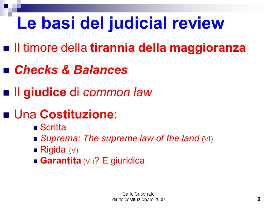 Le basi del judicial review