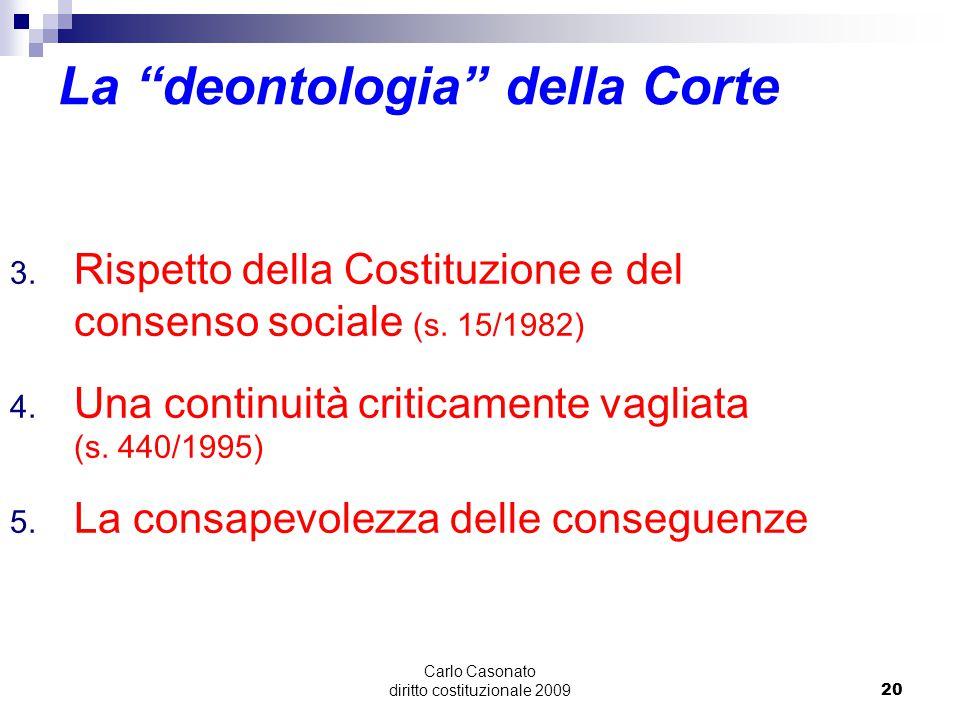 La deontologia della Corte