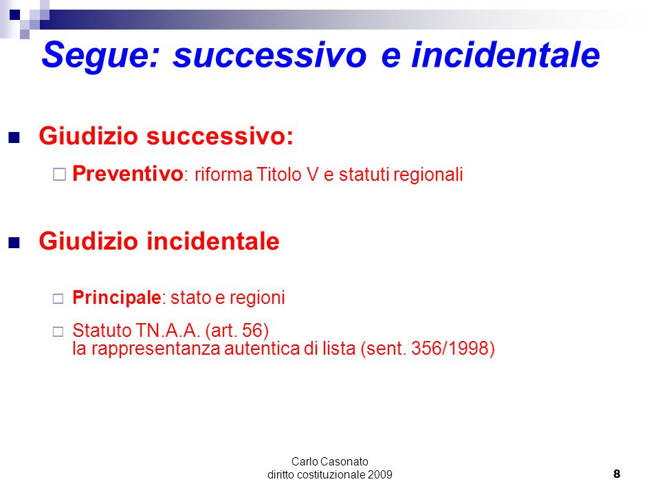 Segue: successivo e incidentale