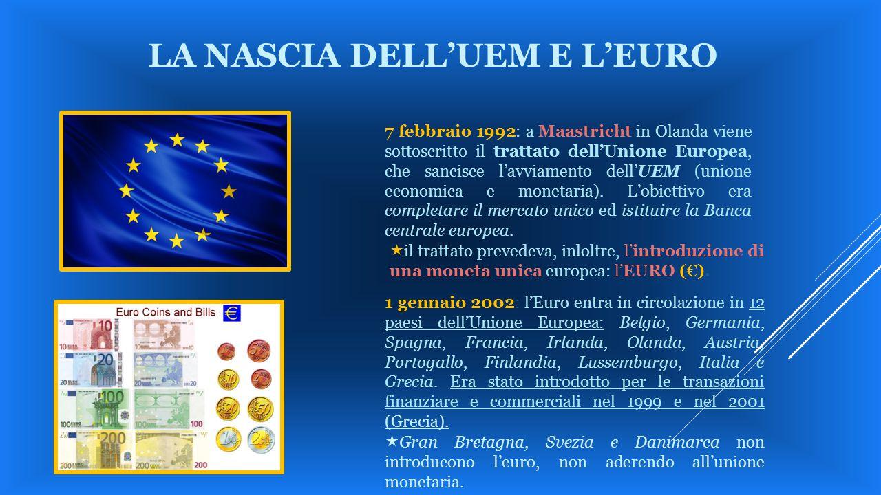 LA NASCIA DELL'UEM E L'EURO