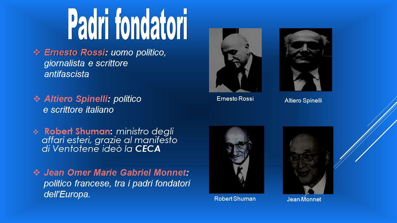 Padri fondatori Ernesto Rossi: uomo politico, giornalista e scrittore antifascista. Altiero Spinelli: politico.