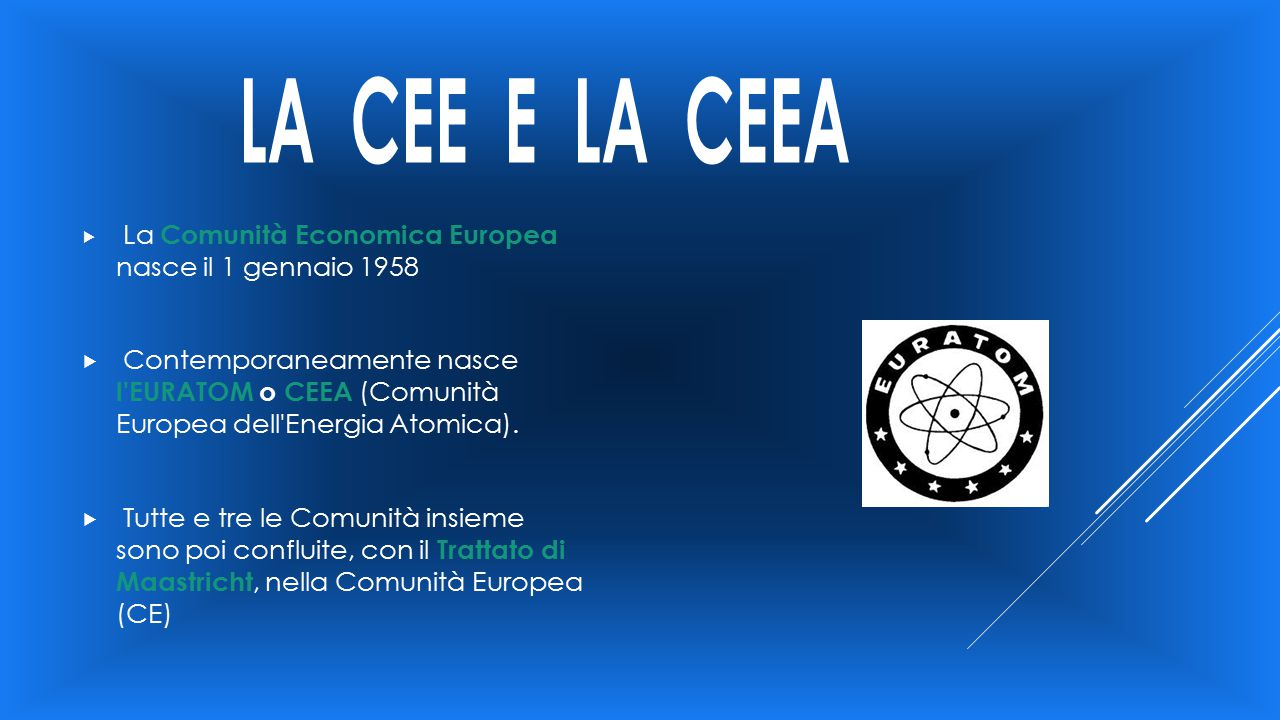 LA CEE E LA CEEA La Comunità Economica Europea nasce il 1 gennaio 1958.
