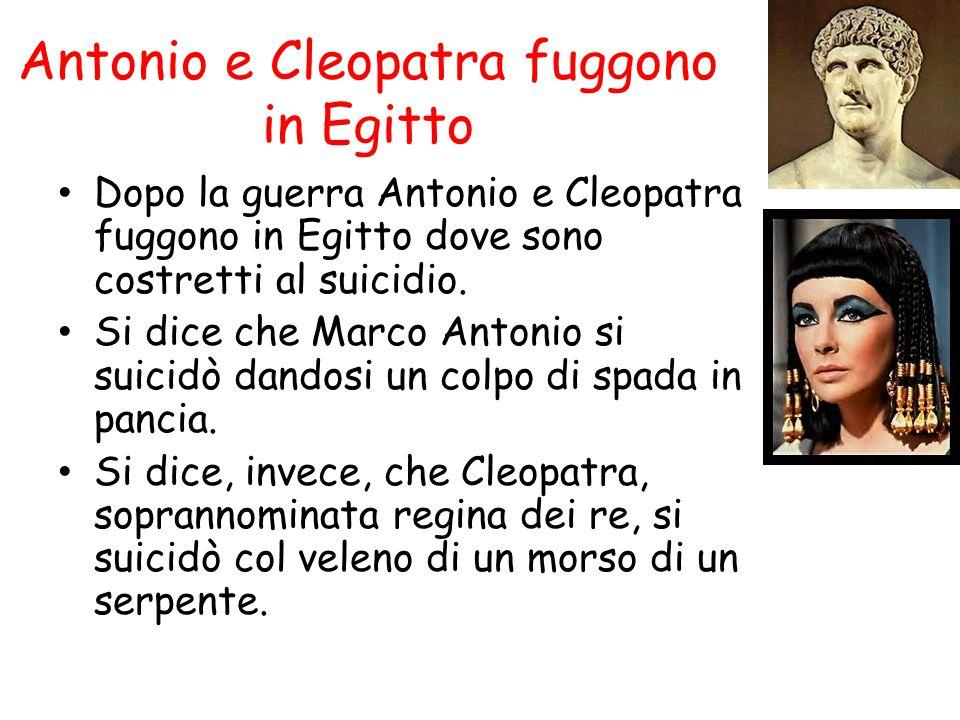 Antonio e Cleopatra fuggono in Egitto