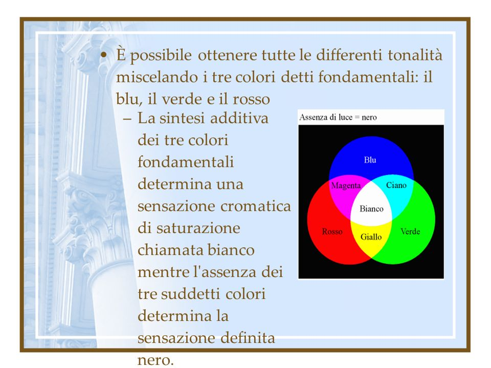 È possibile ottenere tutte le differenti tonalità miscelando i tre colori detti fondamentali: il blu, il verde e il rosso