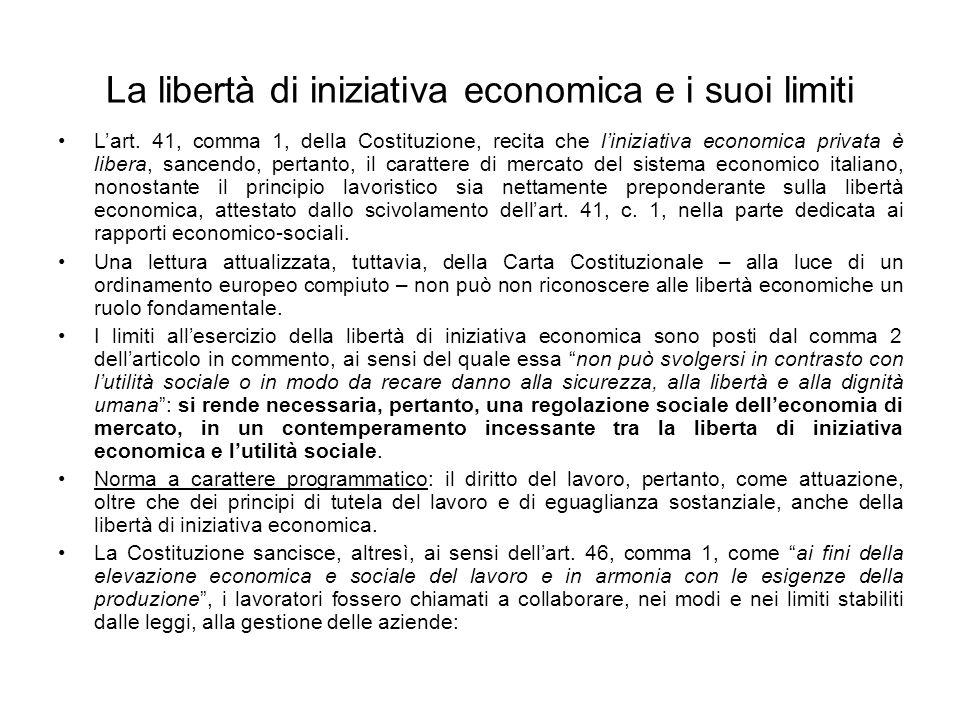 La libertà di iniziativa economica e i suoi limiti