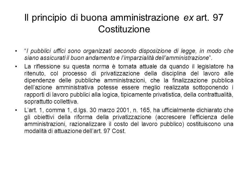 Il principio di buona amministrazione ex art. 97 Costituzione
