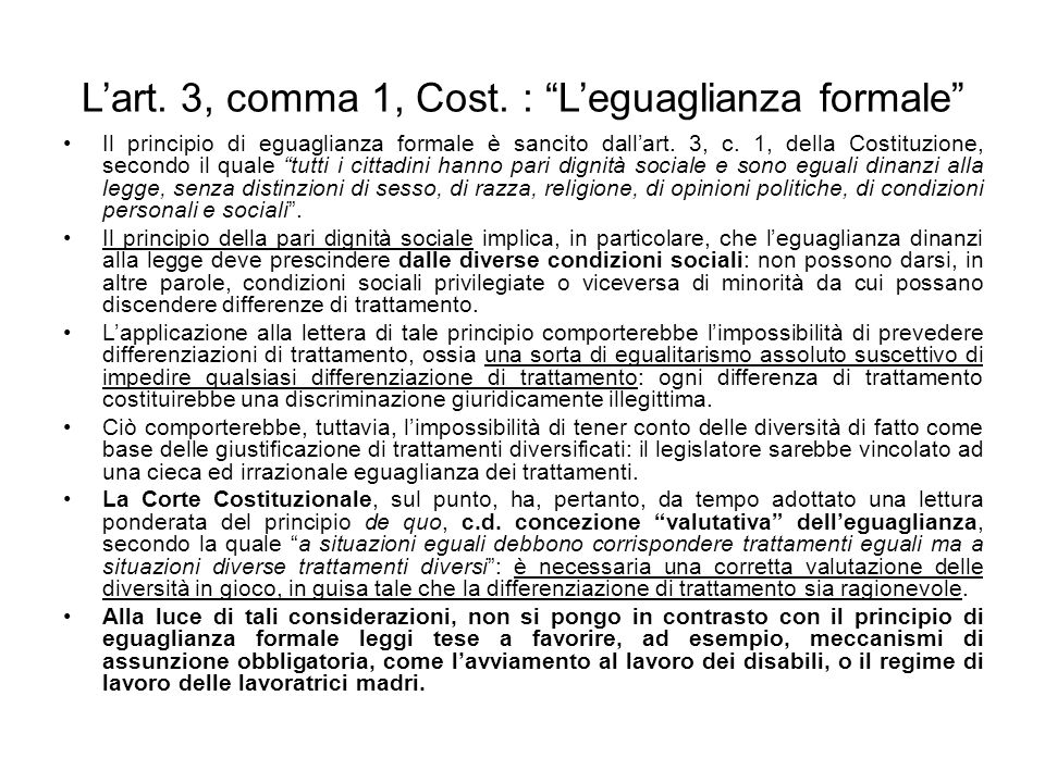 L'art. 3, comma 1, Cost. : L'eguaglianza formale
