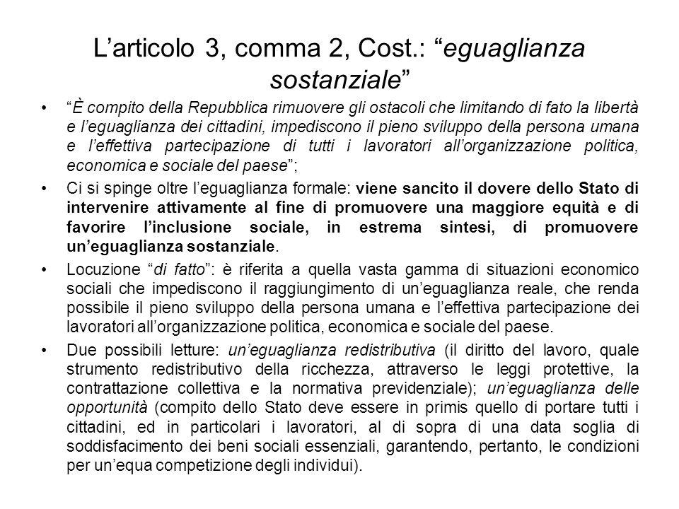L'articolo 3, comma 2, Cost.: eguaglianza sostanziale