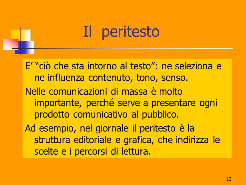 Il peritesto E' ciò che sta intorno al testo : ne seleziona e ne influenza contenuto, tono, senso.