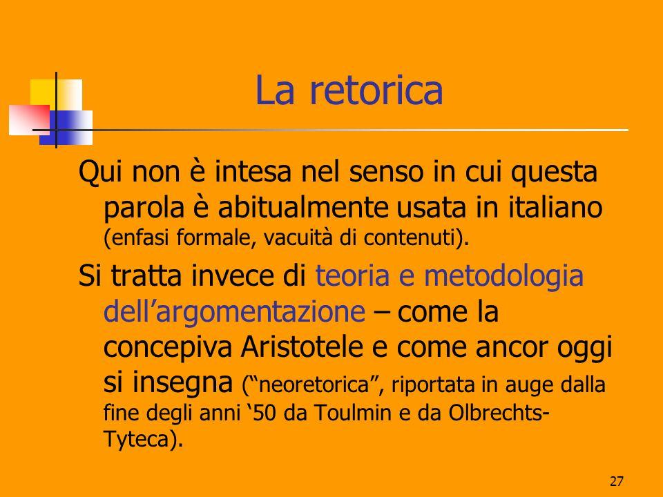 La retoricaQui non è intesa nel senso in cui questa parola è abitualmente usata in italiano (enfasi formale, vacuità di contenuti).