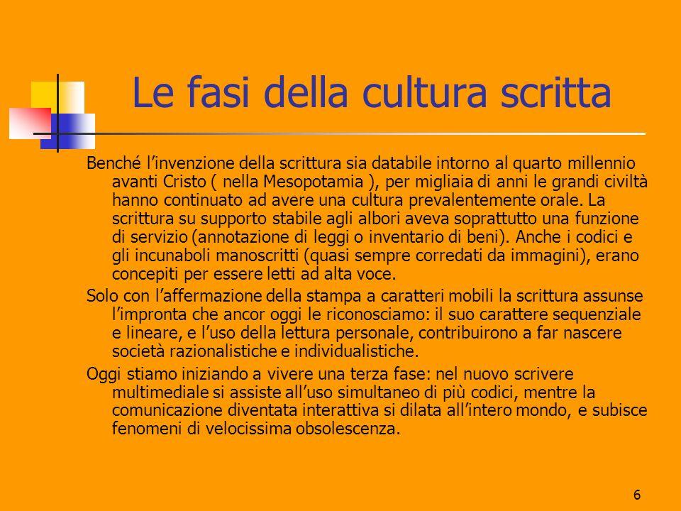 Le fasi della cultura scritta