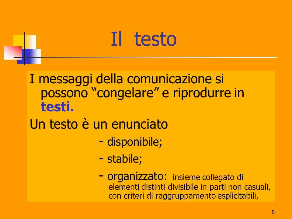 Il testoI messaggi della comunicazione si possono congelare e riprodurre in testi. Un testo è un enunciato.