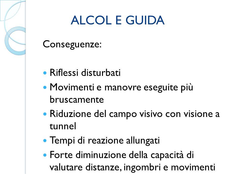 ALCOL E GUIDA Conseguenze: Riflessi disturbati. Movimenti e manovre eseguite più bruscamente. Riduzione del campo visivo con visione a tunnel.