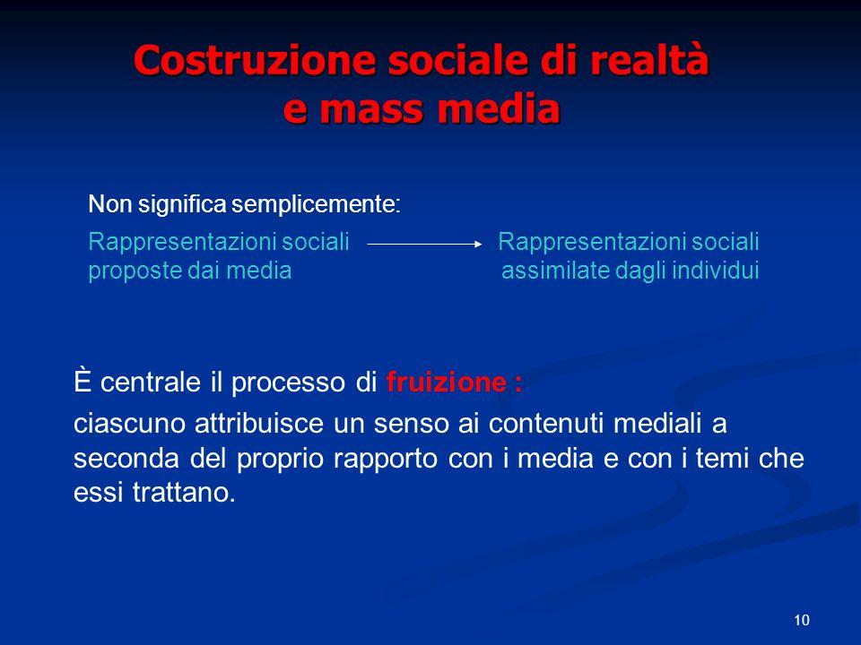 Costruzione sociale di realtà e mass media