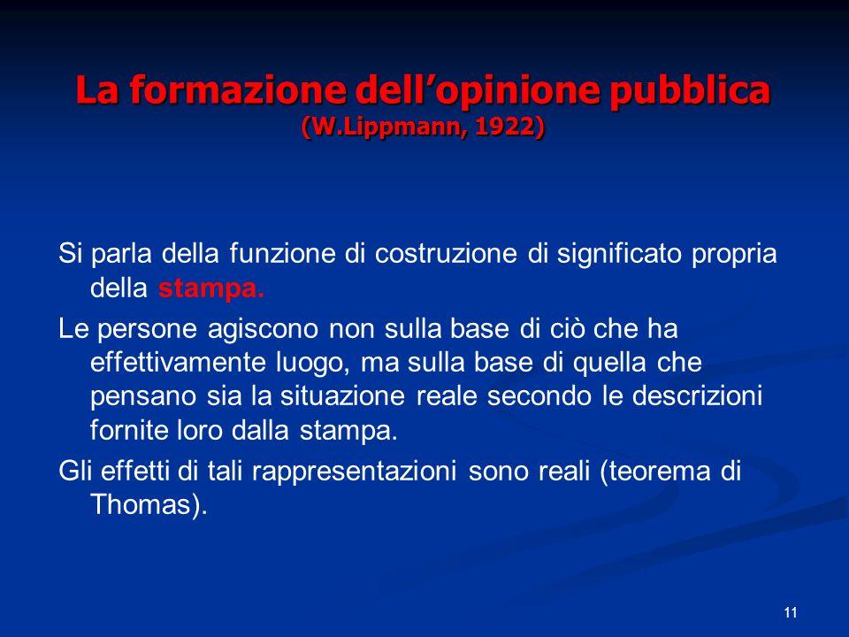 La formazione dell'opinione pubblica (W.Lippmann, 1922)